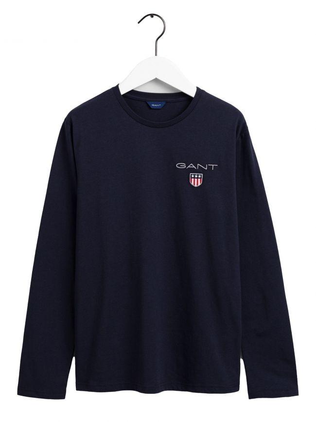 Blue Long Sleeve Shield Logo T Shirt