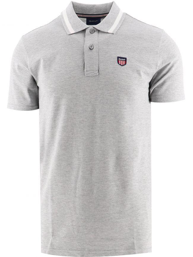 Grey Retro Shield Pique Polo Shirt