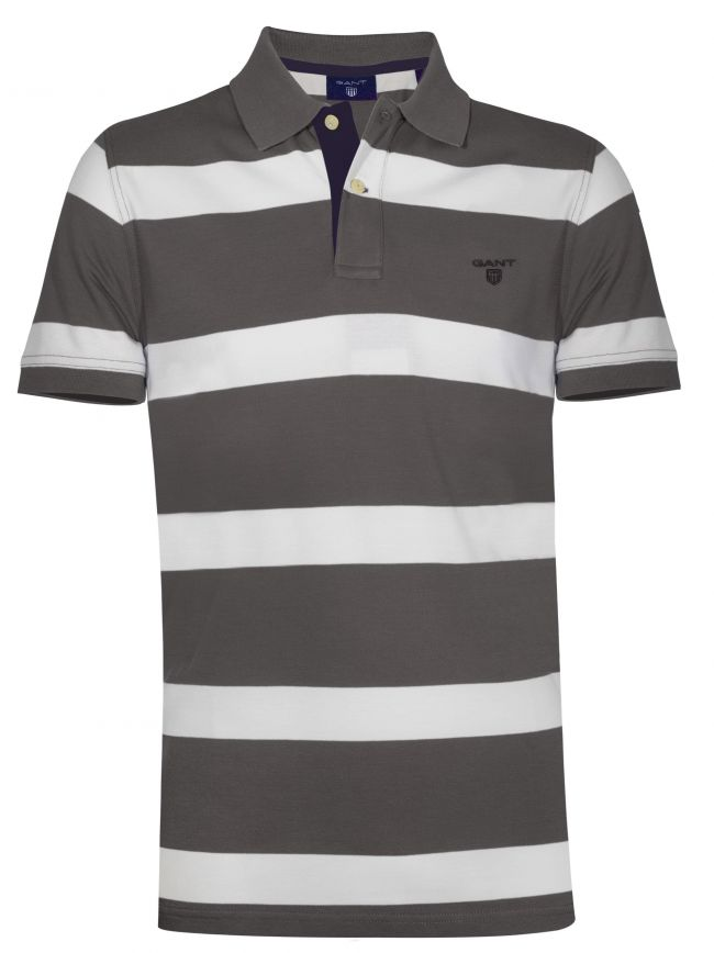 Charcoal Grey Striped Polo Shirt