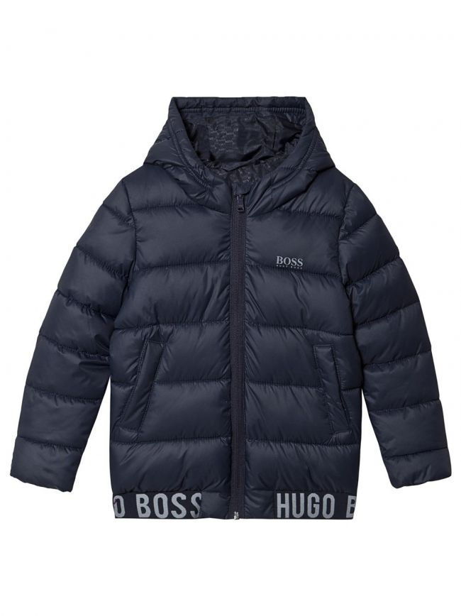Navy Hooded Bubble Water Repellant Jacket