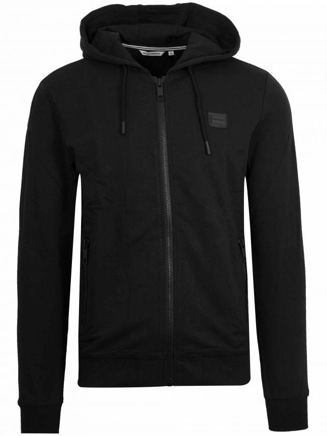 Black Plaque Logo Zipped Hooded Sweatshirt