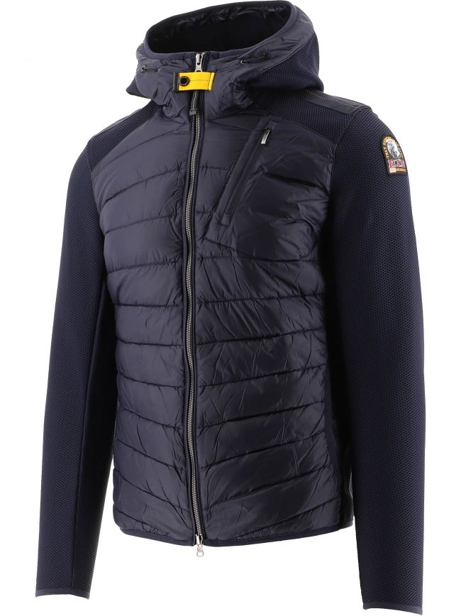 Navy Nolan Fleece Nylon Hooded Jacket