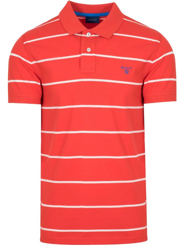 Blood Orange Striped Polo Shirt