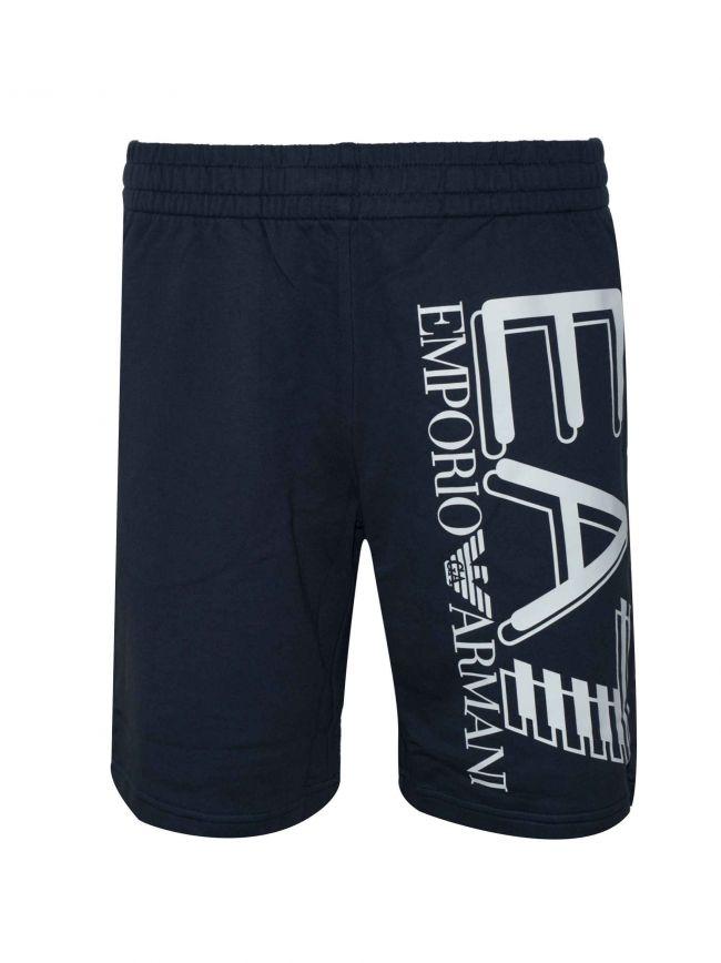 Navy Logo Cotton Shorts