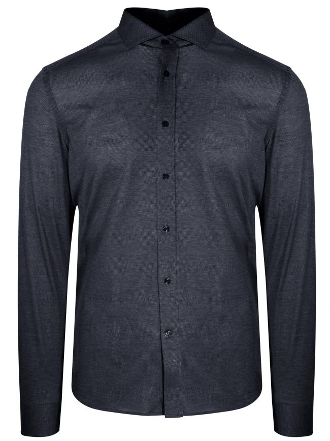 Navy Long Sleeve Spread Collar Shirt
