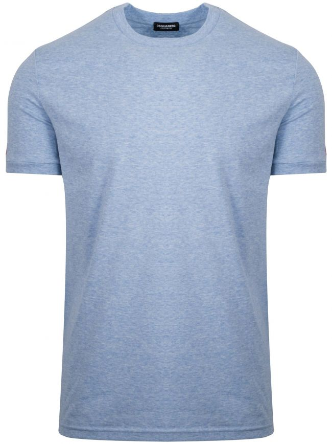 Pale Blue Marl Arm Logo Crew Neck T-Shirt