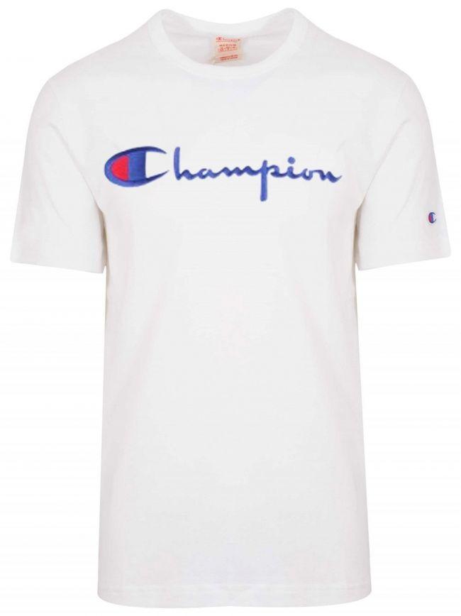 Reverse Weave White Big Script T-Shirt