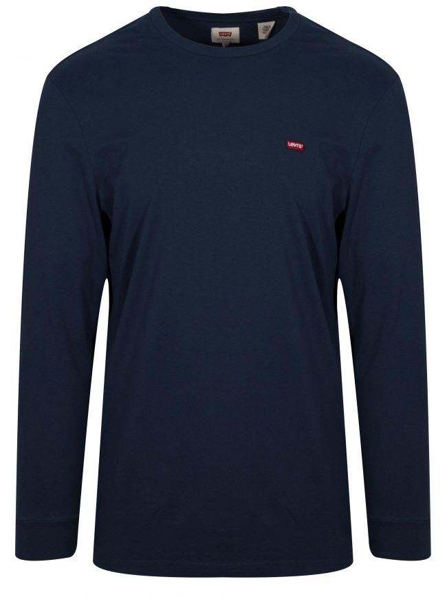 Classic Navy Long-Sleeved Embroidered Logo T-Shirt