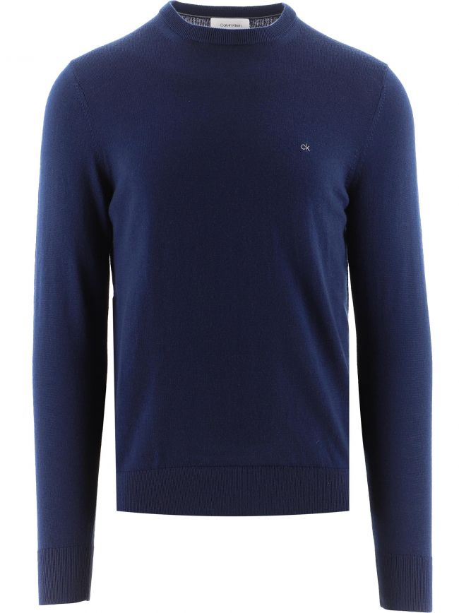 Navy Superior Wool Knitted Sweatshirt