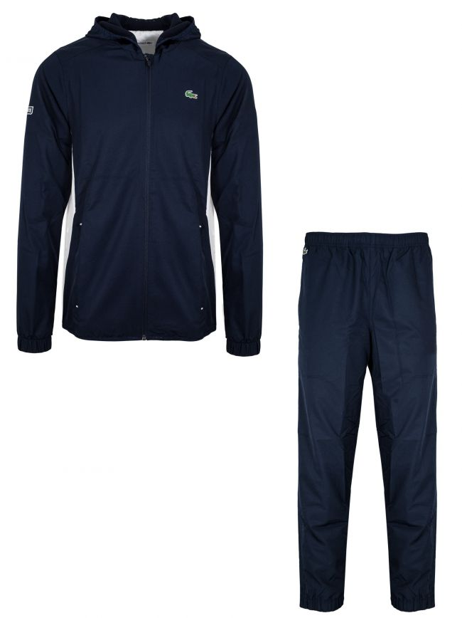 Navy Blue & White Colour Block Tracksuit