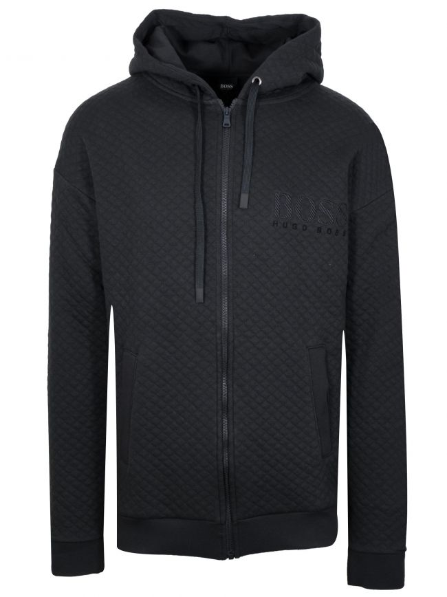 Black Quilted Hooded Zip Sweatshirt