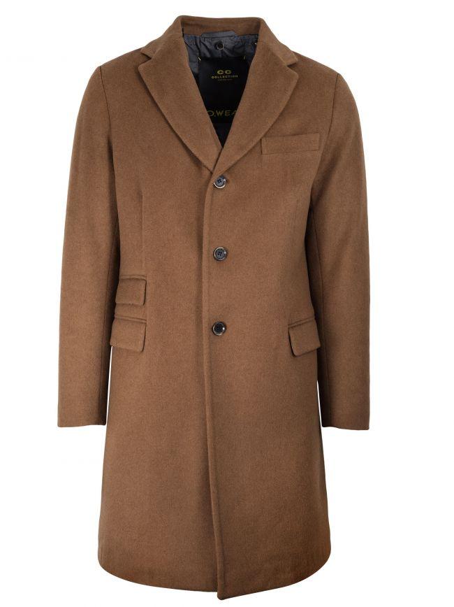 Camel Beige Wool-Blend Coat