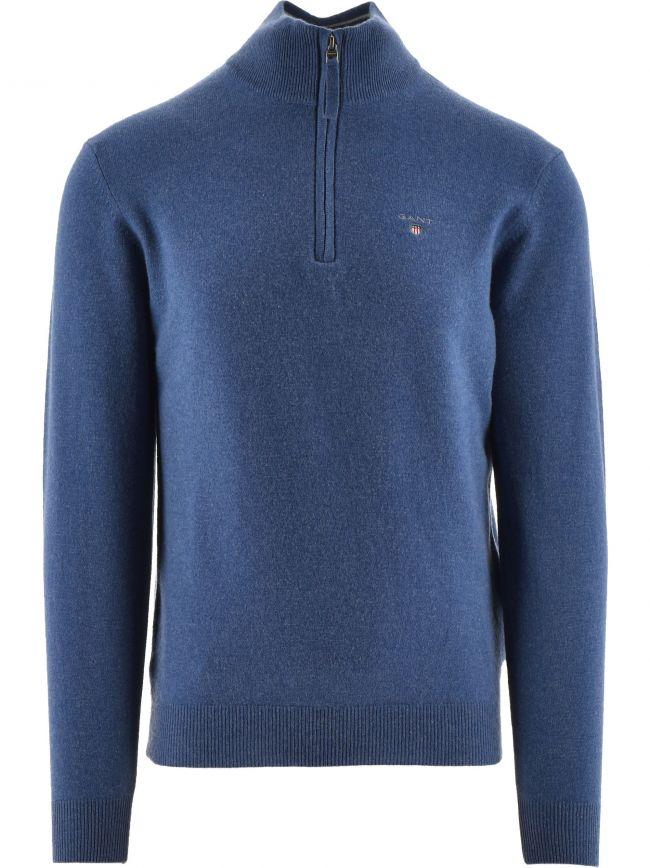 Superfine Lambswool Half Zip Blue Sweatshirt