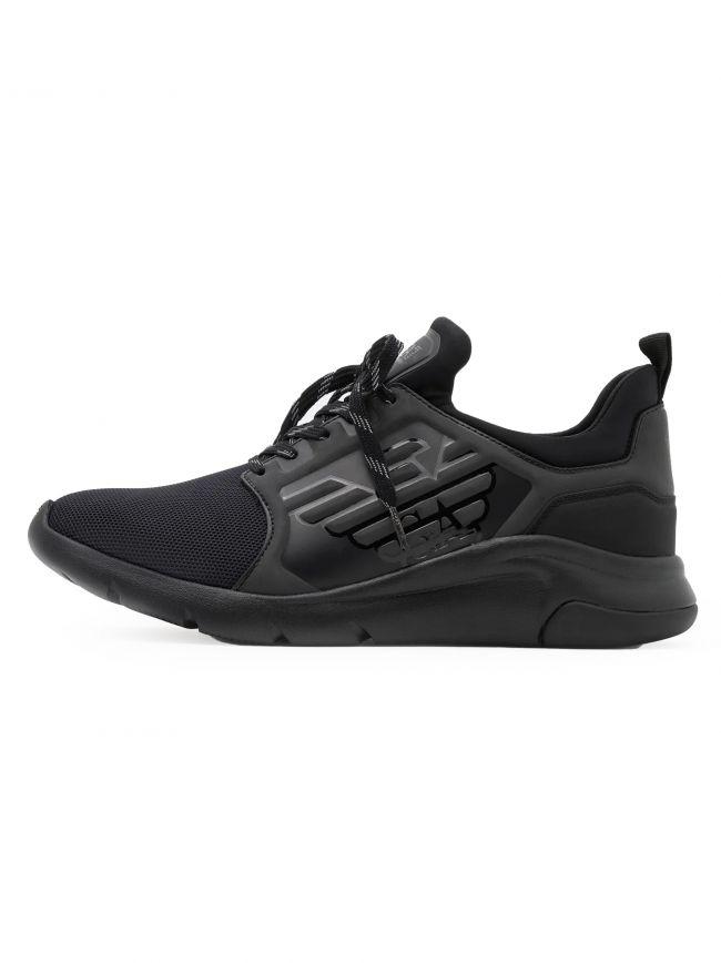 Black Knit Mix Running Sneaker