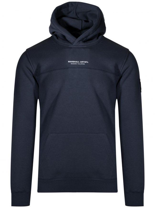 Navy Fleeced Hooded Sweatshirt