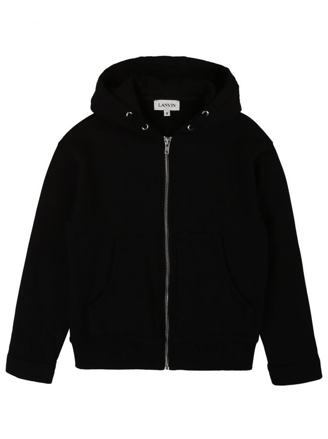 Black Hooded Zip Top