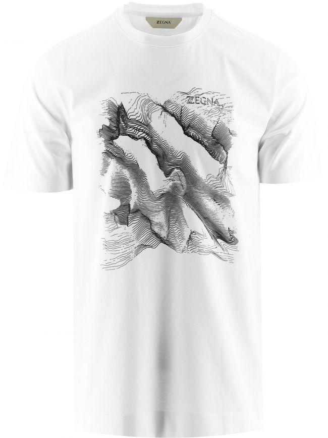 White Topographic Print T-Shirt