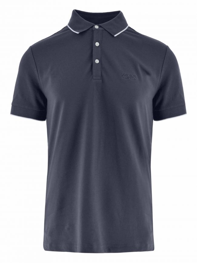 Navy Piped Collar Polo Shirt