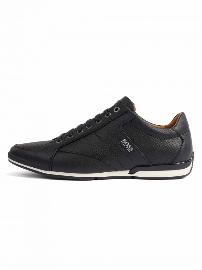 Black Grained Leather Saturn Low Sneaker