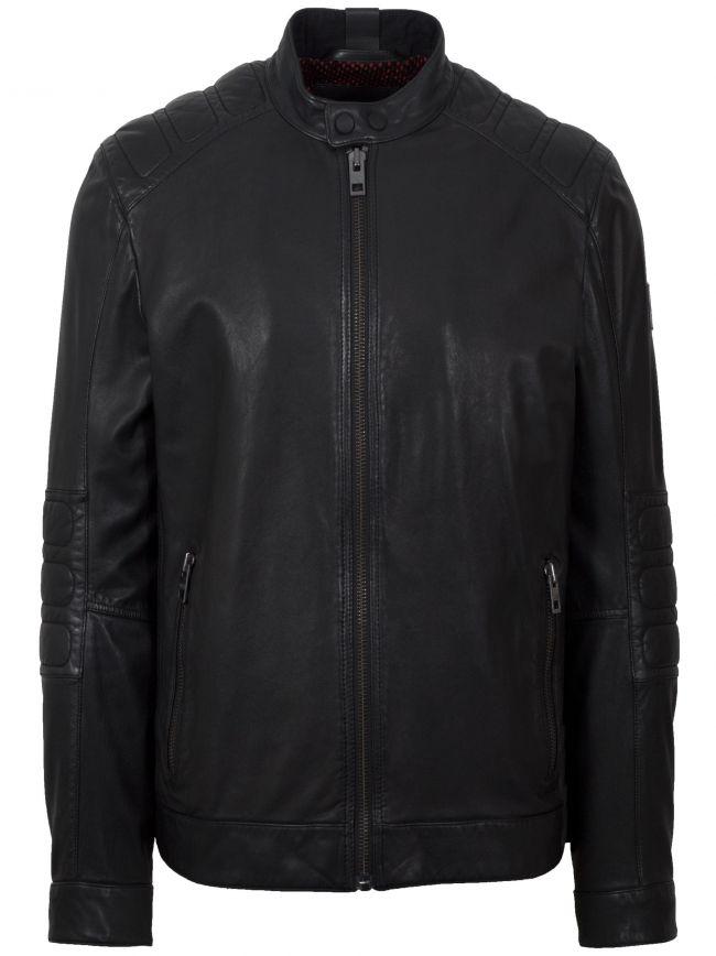 Black Jagson2 Leather Biker Jacket