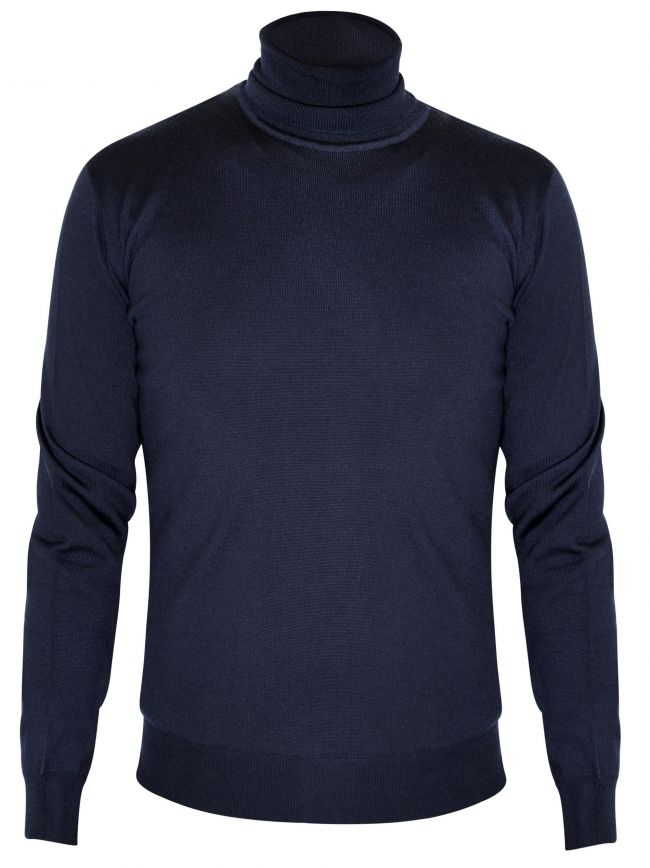 Navy Blue Knitted Rollneck Sweater