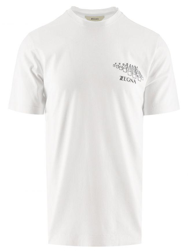 White Milan Print Logo T Shirt