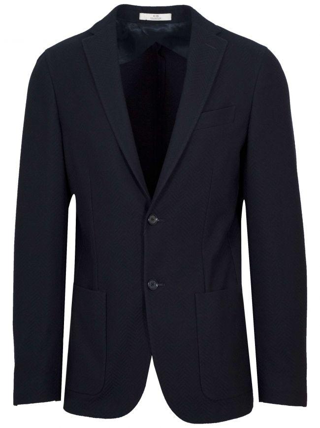 2-Button Navy Blue Herringbone Blazer