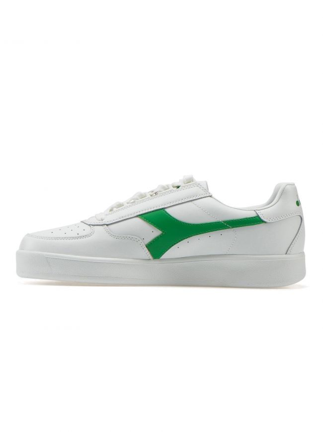 B.Elite White & Green Leather Sneaker