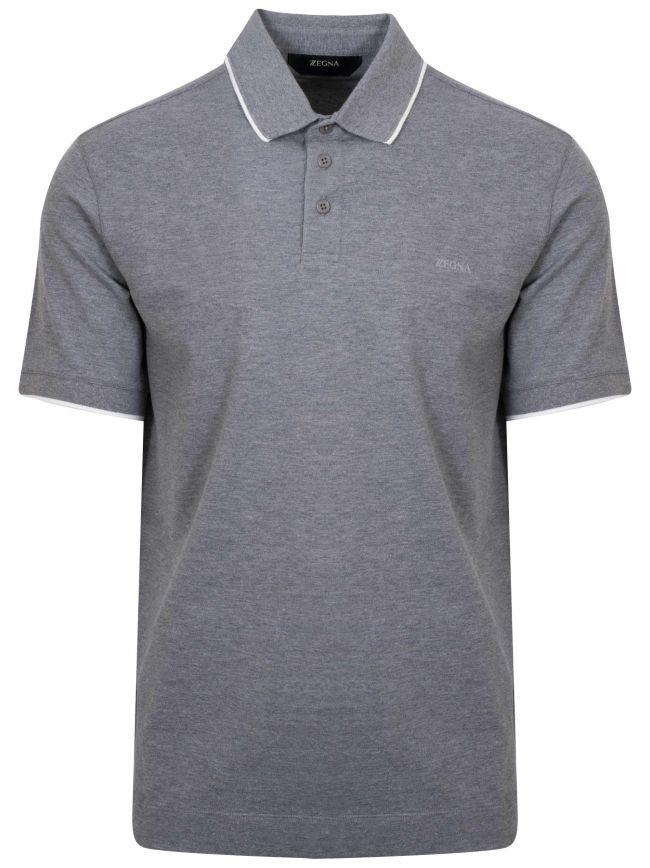 Grey Short Sleeved Polo Shirt