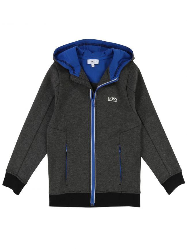 BOSS Kids Anthracite Grey Zipped Hooded Sweatshirt