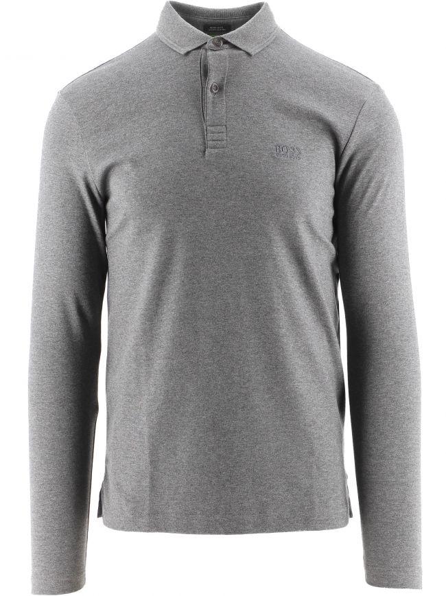 Grey Long Sleeved Interlock Cotton Pirol Polo Shirt
