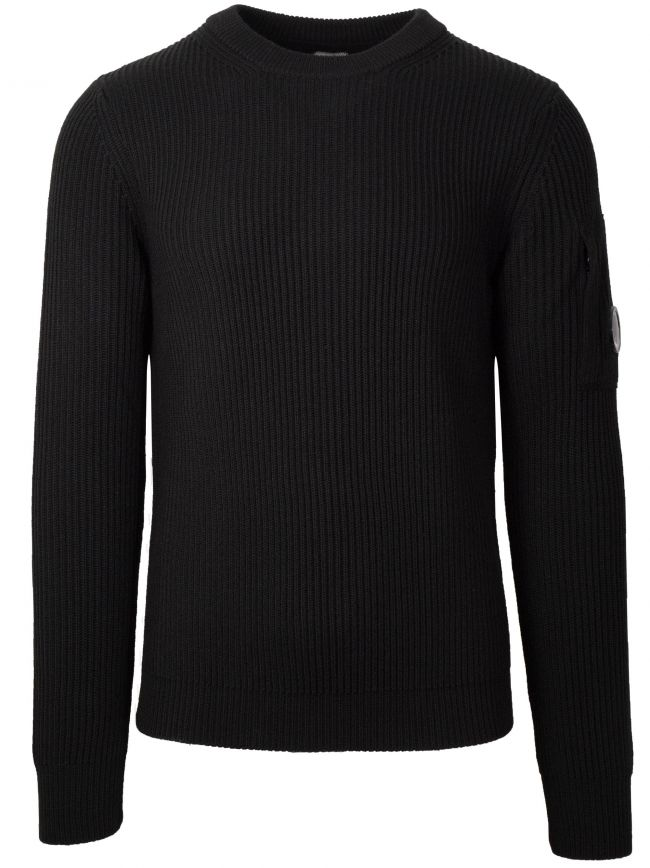 Black Crew Neck Wool Sweatshirt