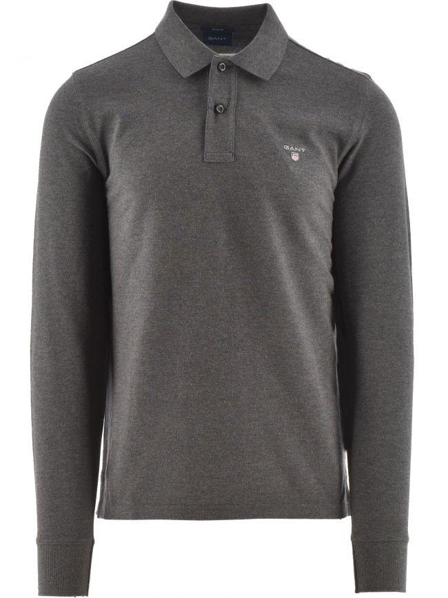 Grey Classic Long Sleeve Polo Shirt