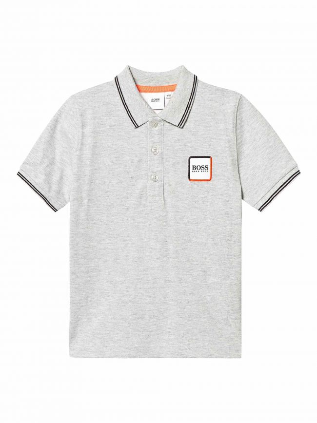 Grey Patch Logo Polo Shirt