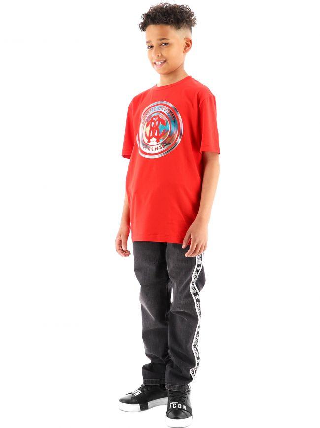 Roberto Cavalli Kids Black RCC Tape Band Jeans