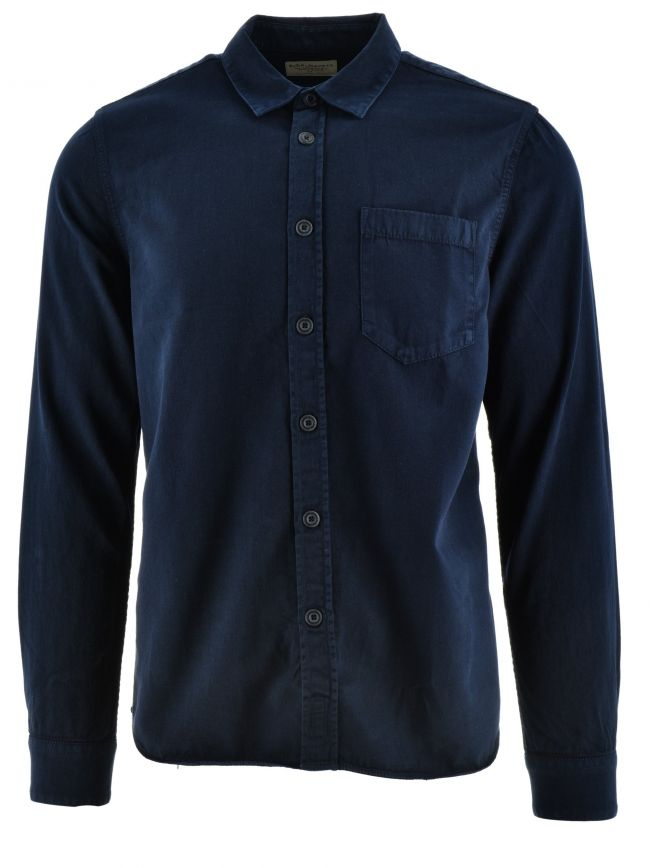 Henry Navy Blue Cotton Over Shirt