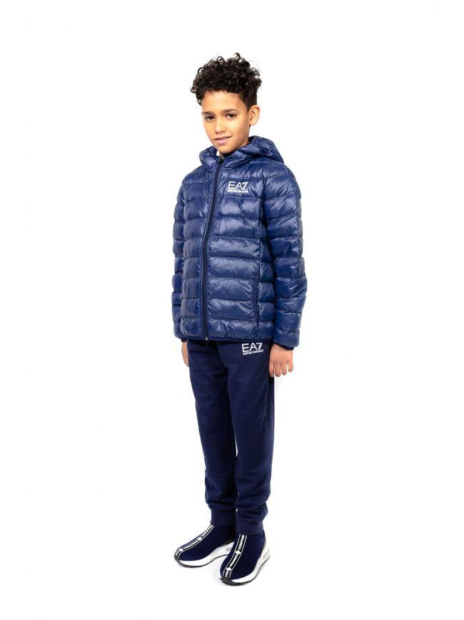 EA7 Kids Navy Down Hooded Jacket