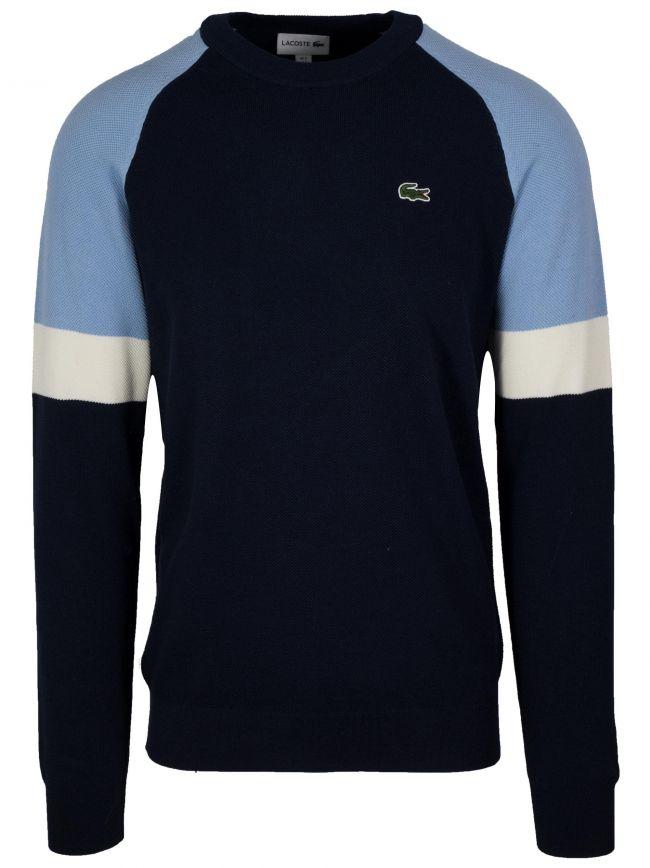 Navy Round Neck Pique Sweatshirt