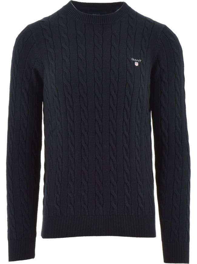 Navy Cable Crew Neck Jumper