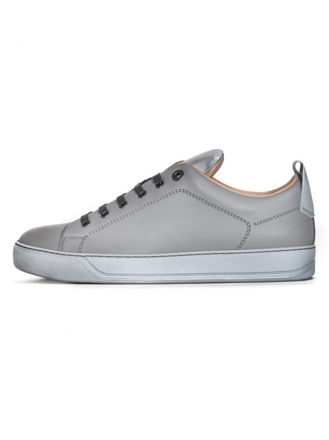 Light Grey Reflective Panel Leather Sneaker