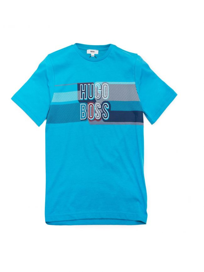 Blue Round Neck Short Sleeve T-Shirt