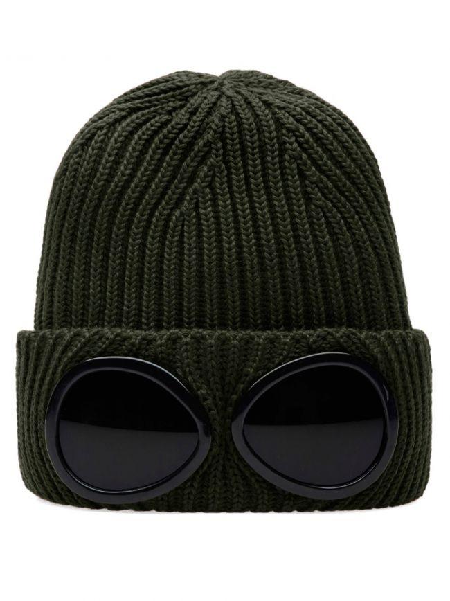 Military Green Goggle Beanie Wool Hat