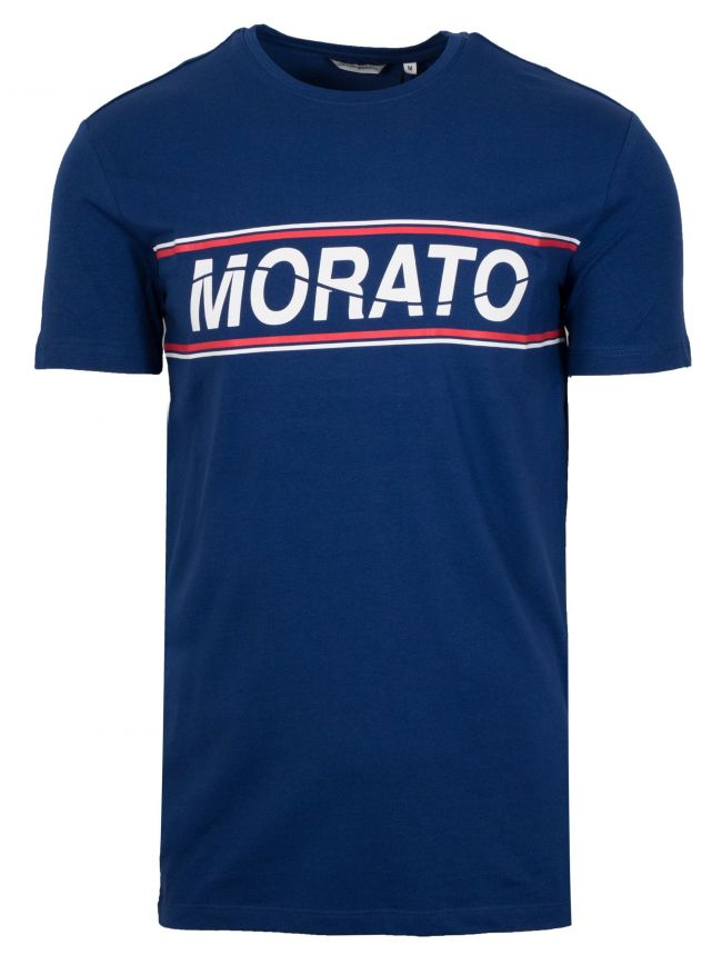 Crew Neck Blue Chest Print T-Shirt