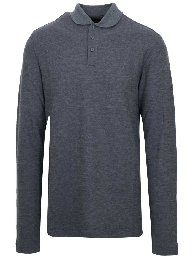 Grey Long Sleeved Wool Polo Shirt