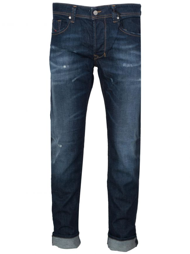 Regular Straight Distressed Larkee Blue Rinse Jean