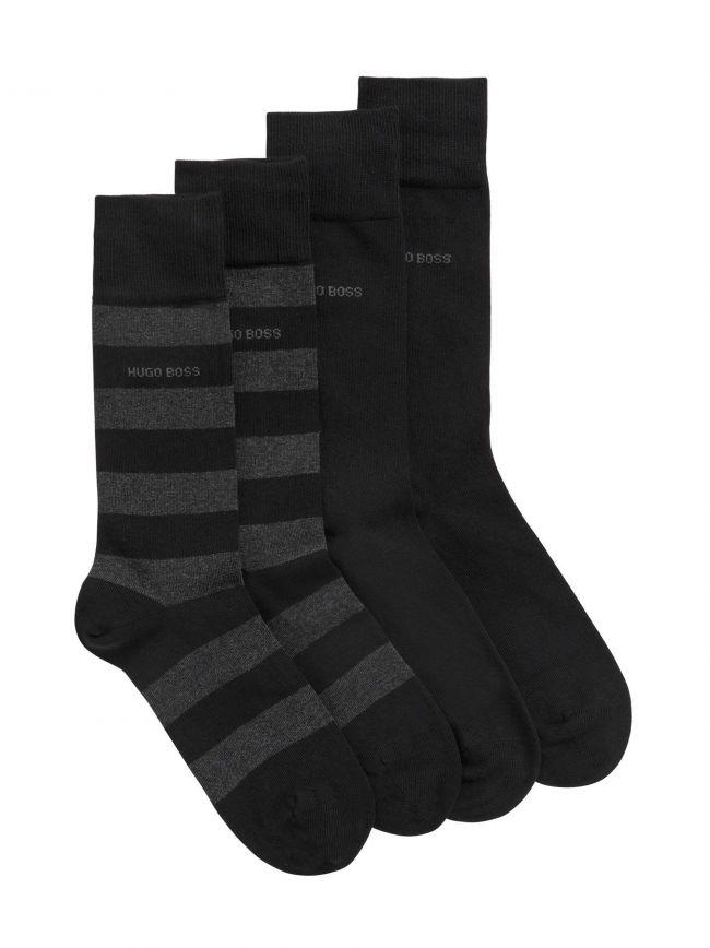 Black 2 Pack Striped Soft Cotton Socks