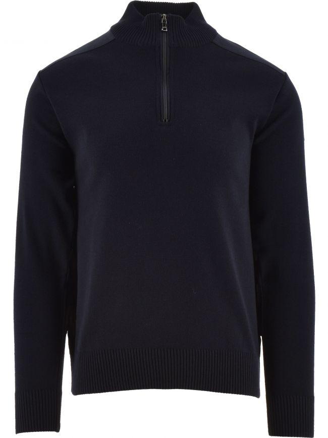 Blue Wool Turtleneck Zip Sweater