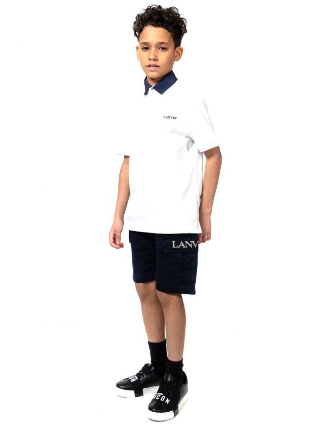 Lanvin Kids White Embroidered Logo Polo Shirt