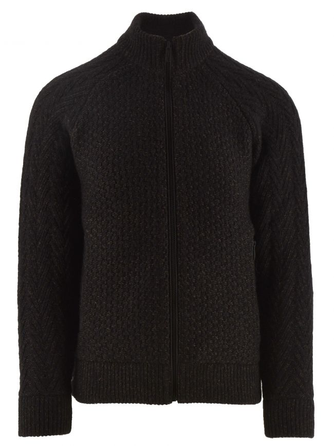 Black Wool and Cotton Knitted Sweater