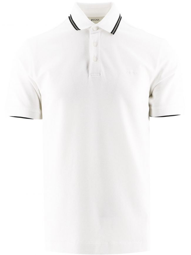 White Stretch Cotton Polo Shirt